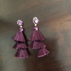 Plum tassel earrings